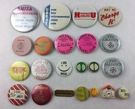 Lot of 22 Vintage Pinback Buttons Tin Ceramic - $19.80