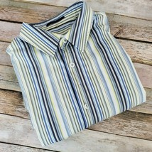 Mens Elie Tahari Button Down Dress Shirt Size M Yellow Blue Stripes Cott... - $17.81