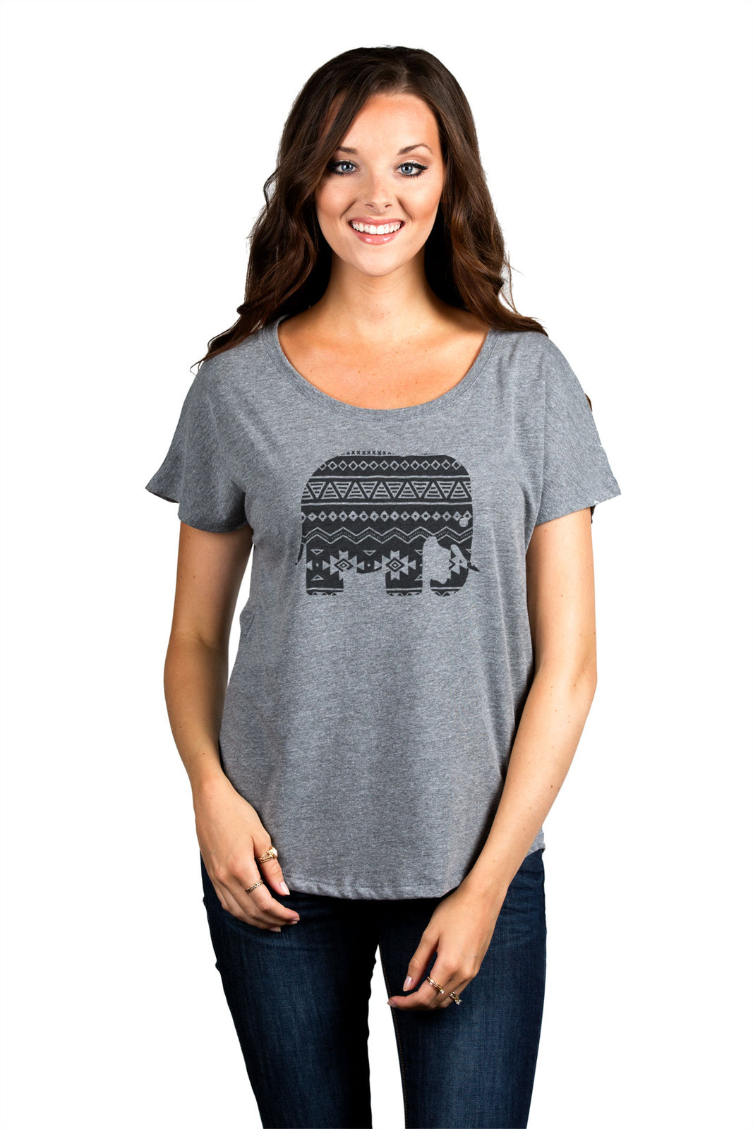 Thread Tank Aztec Tribal Elephant Women's Slouchy Dolman T-Shirt Tee Heather Gre