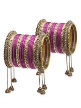 Lacquer Glass Wedding Bangles for women Pink Ji... - $67.00