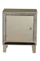 23.5' Champagne Wood Accent Cabinet with a Door and Antique Mirrored Glass - $198.92