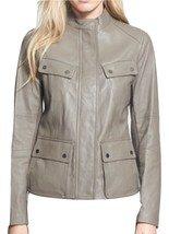 VINCE LAMBSKIN LEATHER CARGO JACKET GREY TAUPE SIZE L $1195 *NWT* - $268.20