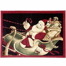 Christmas Rug Holiday Décor Santa on Sled Area Rug Approximately: 3ft4in... - $59.10