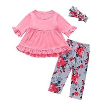 3PC Toddler Baby Girls Cute Floral Shirt Dress Pants Christmas (3T|Pink-1) - $18.94