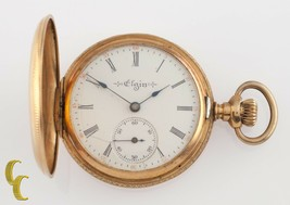 Elgin Full Hunter Antique 14k Yellow Gold Pocket Watch Size 0 7J 1904 - $544.48