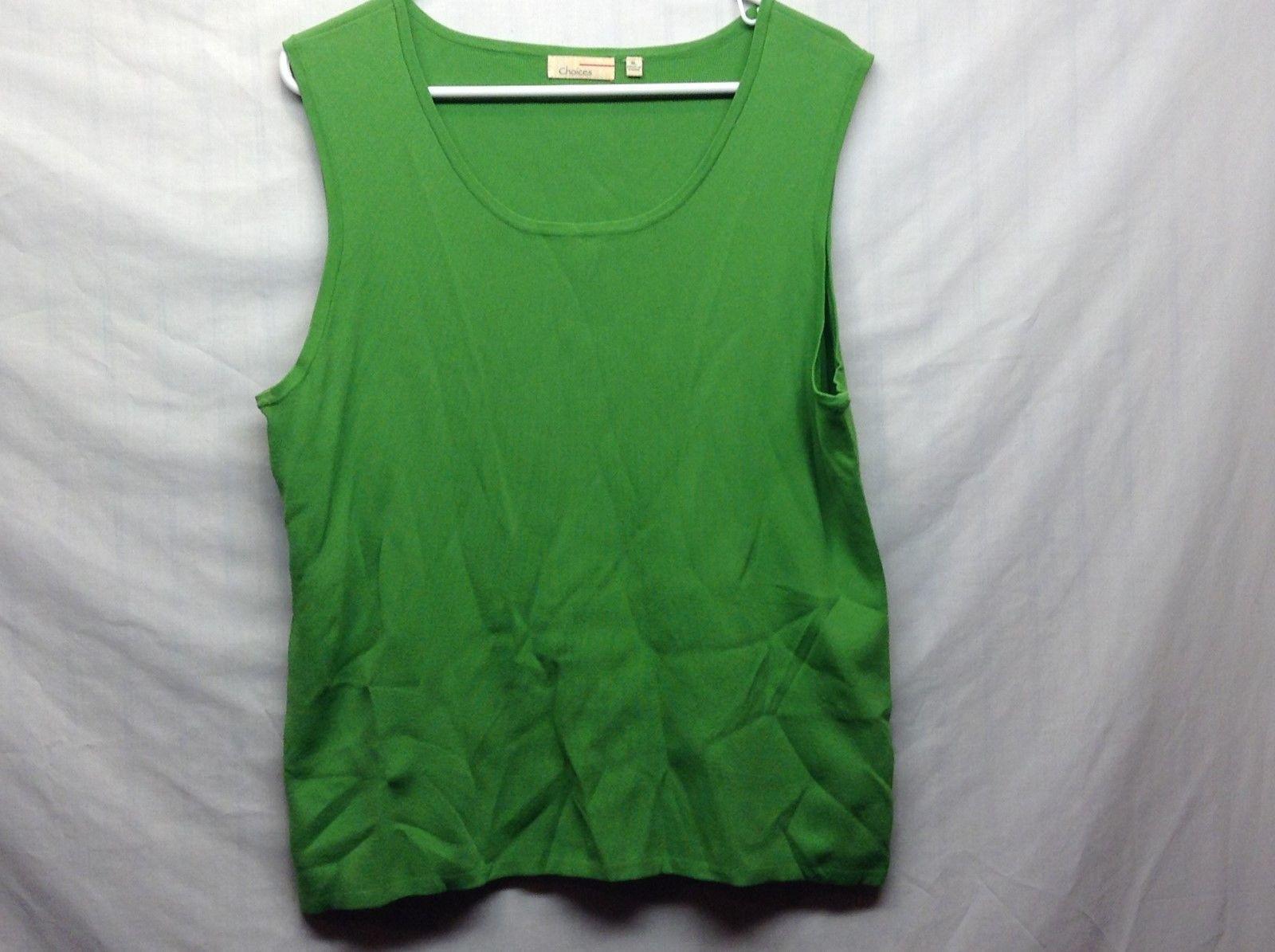 Choices Stretchy Green Tank Top Sz XL