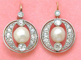 ANTIQUE 1.44ctw MINE DIAMOND 7mm NATURAL PEARL 18K COCKTAIL WIRE EARRING... - $4,054.05