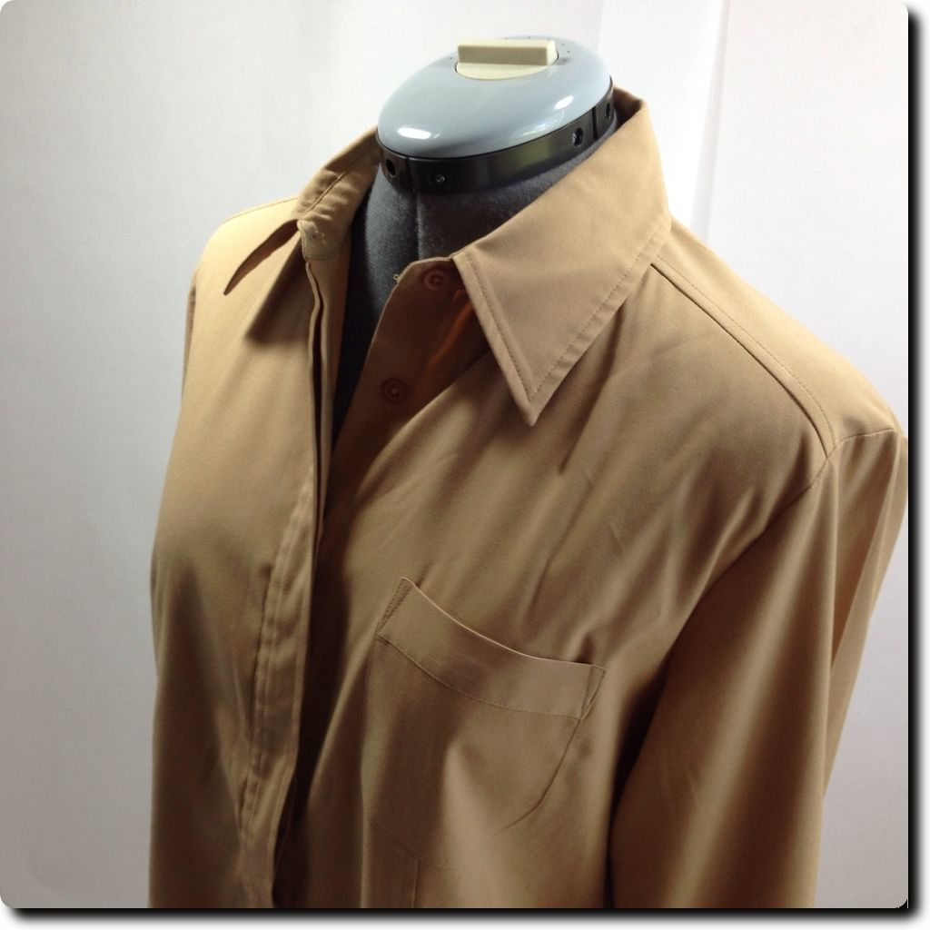 Express Light Brown Fitted Long Sleeve Stretch Top with French Cuffs 10 image 2
