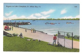Regatta on Lake Champlain St Albans Bay Vermont Vintage Tichnor Linen Po... - $4.99