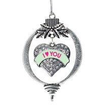 Inspired Silver I Love You Green Candy Pave Heart Holiday Ornament - $14.69