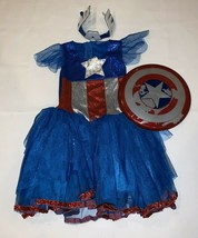 American Dream Girls Captain America Halloween Costume Dress Up Tutu Size S 4-6X - $29.99