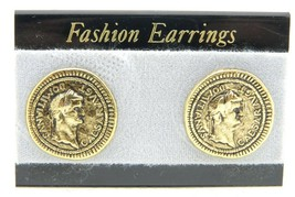 VTG Style Gold Tone Ceasar Domitianvs Post Earrings - $9.90