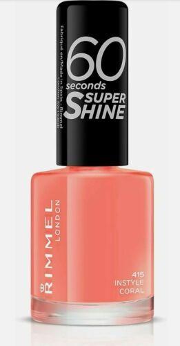 rimmel 60 seconds super shine nail polish varnish - 415 instyle coral orange 8ml