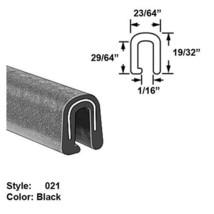 Black 15//16 x Wd 3//4 Style 037 EPDM Rubber U-Channel Push-On Trim Ht 25 ft long