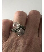 Vintage Crystal Ring Deco Marcasite 925 Sterling Silver Size 8 - $133.65