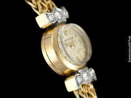 1950's JAEGER-LECOULTRE Vintage Ladies Backwind 18K Gold & Diamond Watch - Warra image 6