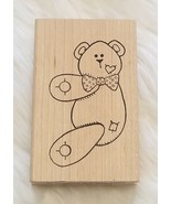Limited Edition 1997 Teddy Bear Rubber Stamp Heart Patches Wood Mounted - $6.61