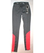 New Head Active Run Womens Gray Orange Striped Pants Leggings XS Yoga Pi... - $20.00