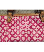 Coach Leah Op Art Coated Canvas & Leather Signature Purse Small Pink  42... - $69.99
