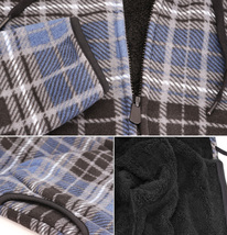 Men's Casual Flannel Zip Up Fleece Lined Plaid Sherpa Hoodie Lightweight Jacket image 10