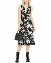 Michael Kors Tropical V-Neck Dress, Black/White, Medium - $54.45