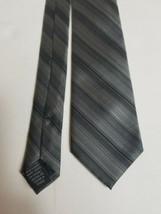J. Ferrar Mens Necktie Tie Silver Black Hand Made Polyester  - $12.73