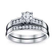 Round Cut Diamond 14Kt White Gold Gp 925 Silver Channel Set Bridal Ring Set - $62.99