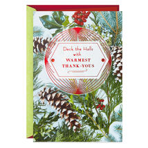 Deck the Halls Christmas Thank You Card With Envelope - $3.99