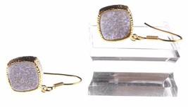 Elise M 18K Gold Plated Pink Druzy Dangle Drop Shepherds Hook Earrings NWT image 2