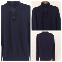 American Eagle Mens Blue Mock Neck 1/2 Zip and Button Sweater M Athletic... - $14.01