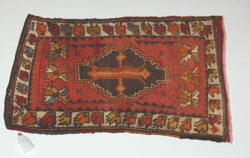 Genuine Hand Woven Design Name Old Turkish Rug Browns Oranges 24 by 34