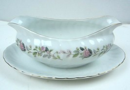 Regency Rose 2345 by Creative Fine China Gravy~Sauce Boat w/ attached Tray Japan - $21.49