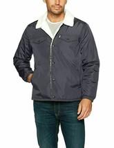 Levis Sherpa Jacket Nylon Trucker Jacket Color Gray - $71.99