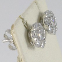 18K WHITE GOLD 8 MM FLOWER SUN EARRINGS WHITE ZIRCONIA 1.8 CARATS MADE IN ITALY image 2