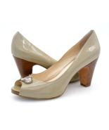 Coach Womens 8.5B Olive Leather Peep Toe Slip On High Cone Heels Pumps S... - $29.99