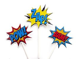 Crafty Cue Superhero Cupcake Toppers, Superhero Burst Cupcake Toppers BAM POW ZA - $12.99