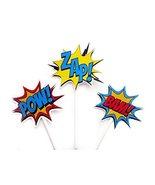 Crafty Cue Superhero Cupcake Toppers, Superhero Burst Cupcake Toppers BA... - $12.99