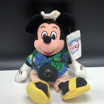 WALT DISNEY STORE PLUSH bean bag stuffed animal tag Mickey Mouse tourist camera - $15.84