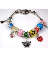 17 Charm Large Hole Beads Bracelet with Heart Lobster Claw Clasp - $24.74