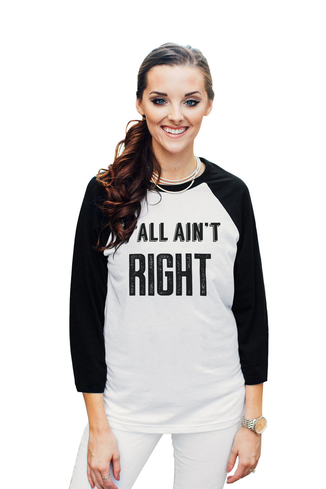Thread Tank Yall Aint Right Unisex 3/4 Sleeves Baseball Raglan T-Shirt Tee White