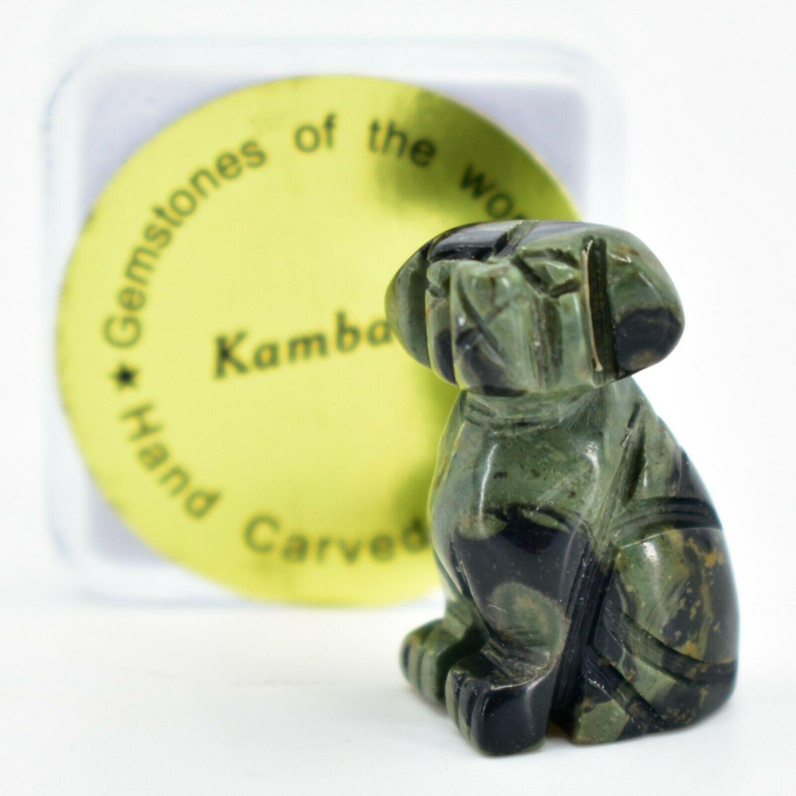 Kambaba Jasper Gemstone Tiny Miniature Puppy Dog Figurine Hand Carved in China