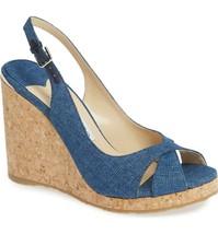 JIMMY CHOO Slingback Wedge Sandals Denim Size 40.5 - $331.65