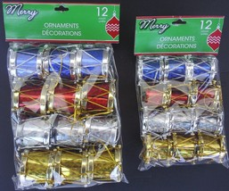 CHRISTMAS DRUM ORNAMENTS w Loops Holographic Foil 12 Ct/Pk SELECT DRUMS ... - $2.99