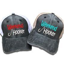 """fe122532 Women's Fishing Trucker Hat Weekend Hooker"""" Custom Distressed  Embroidere."""