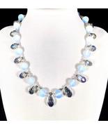 "16"" Sapphire glass teardrop & crystal choker necklace - $69.00"