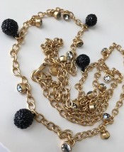 NWT J. Crew Long Crystal and Pearl Necklace Black - $32.99