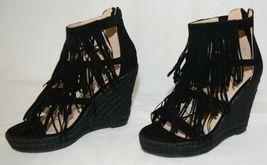 BF Betani Shiloh 8 Black Fringe Wedge Heel Sandals Size 5 And Half image 3