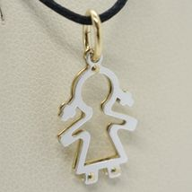 18K YELLOW WHITE GOLD PENDANT WITH GIRL BABY PERFORATED MADE IN ITALY, TWO FACES image 3