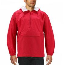 Men's Water Resistant Windbreaker Hooded Half Zip Pullover Rain Jacket image 5