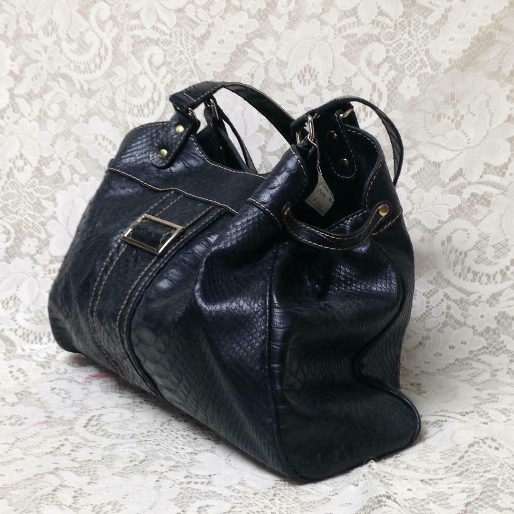 Crazy Horse- Liz Claiborne Black Embossed Faux Crocodile Purse 14.5inx10.5inx4in - $11.35